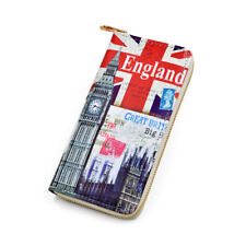 Premium British Union Jack Flag London City Print PU Leather Zip Around Wallet
