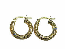 New Ladies 9ct Yellow Gold Twist Dimpled Creoles Earrings 16mm 0.9g Hallmarked