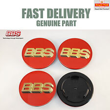 4x Genuine BBS Centre Caps Red and 3D Gold BBS Logo 70.6mm RS RM LM RX RF NEW