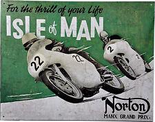 Norton Isle of Man Motorbike Racing Motorrad Biker Oldtimer Poster Schild *077