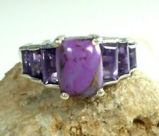 STS Oval Purple Cabochon Amethysts Ring .925 Sterling Silver Size 8