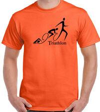 Triathlon Curly Mens T-Shirt Cycling Running Swimming Ironman Sport Bike Kit