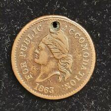 Civil War Token Patriotic 1863 For Public Accommodation/U.S Copper