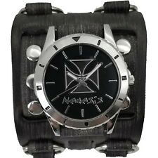 Nemesis Iron Cross diver case watch with wide leather cuff band VWB956K