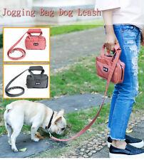 Dog Purse Leash Bag with Poop Bag Dispenser Front Pocket and Center Zipper Pocke