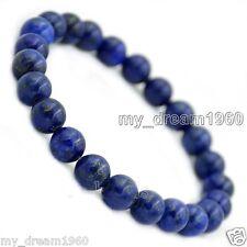 8mm Natural Blue Lapis lazuli Round Gemstone Stretch Beads Bangle Bracelet