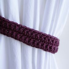 Faded Eggplant Solid Purple Curtain Tiebacks, Fig Tie Backs Crochet Knit, Simple