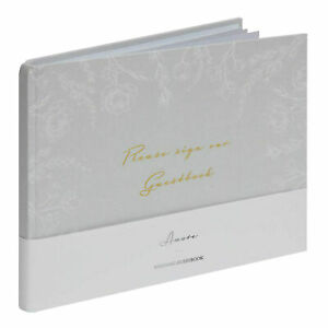 Amore Grey Floral Wedding Guest Book 40 pages