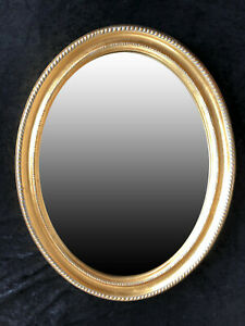 Wall Mirror Gold Oval With Decorated Frame Baroque Shabby Chic 47x37 CM Cottage