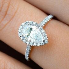 White Gold Over Vintage Antique Style Pear Diamond Engagement Wedding Ring 14k