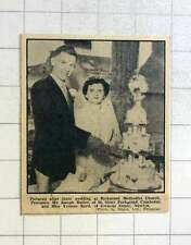 1957 Mr Joseph Butler Of Camborne And Miss Yvonne Reed Of Newlyn Cutting Cake