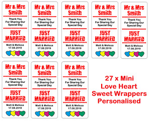 Personalised Mini Love Heart Sweets Favours Wedding WRAPPERS ONLY Colour Options