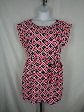 GAP Dress Large Petite Pink Blue Brandy Printed Diva Pockets