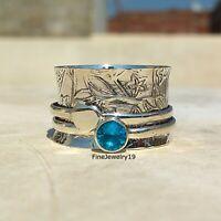 Blue Topaz Ring 925 Sterling Silver Spinner Ring Meditation Statement Ring A54