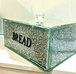 UK Silver Crushed Diamond Crystal Mirrored Bread Bin Container Sparkly Glitter