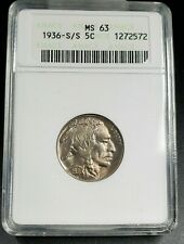 1936 S/S S Nickel Coin Variety ANACS MS63 RPM 006 Small Die Cudd on Buffalo Eye