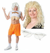 Droopers Hooters Mens Stag Fancy Dress Costume with Blonde Wig & White Glasses