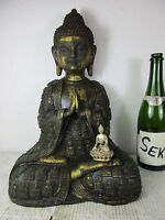Große Gautama Buddha Bronze Amulett Gewand vergoldet original  Tibet ~1960 42cm