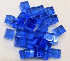 71gms (30) Pieces - Crystal Glass 10mm Cubed Beads - Ceylon Sapphire - Sky Blue
