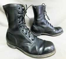 VTG 1966 BLACK LEATHER JUMP COMBAT MILITARY BOOTS 9 R