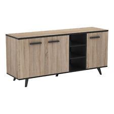 Aparador salon comedor color roble y negro 3 puertas 3 huecos baldas interiores