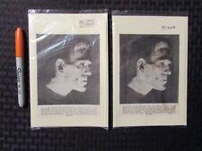 1931 FRANKENSTIEN Print Ad / Greeting Card FN 6.0 Boris Karloff LOT of 2