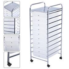 10 Drawer Rolling Storage Cart Scrapbook Paper Office School Organizer Clear