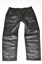 "Vintage Black Leather Straight Leg Women's Trousers Jeans Pants Size W34"" L28"""