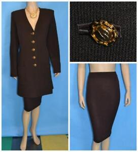 St. John Collection Knits Brown Jacket & Skirt L 14 12 2pc Suit Gold Buttons