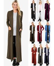 S-3X Women's Full Length Maxi Cardigan Duster Open Front Sweater Long Sleeve