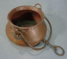 Antique Dovetail Copper Cauldron Hand Forged Iron Handle Primitive Kettle Pot