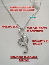 Collana Argento 925% Charm Pendente nota musicale uomo donna chiave di violino