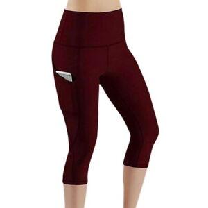 Womens 3/4 Capri Yoga Pants Pocket Gym Fitness Sport Cropped Leggings Stretch