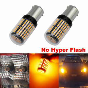 2pc Yellow 144  BA15S Car Light Bulbs 12V-24V 7440 LED Lamp Turn Signal 144SMD