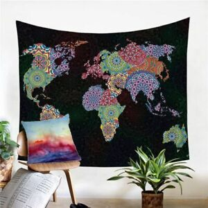 World Map Mandala Floral Wall Tapestry Hanging Throw Cover Home Room Decoration