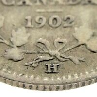 1902 Large H Canada Five Cent Small Canadian Circulated Edward VII Coin M643
