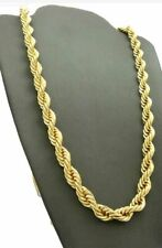 "24"" Gold Plated 8mm Rope Cuban Twist Chain Iced Out Necklace HipHop Bling"
