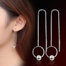 Womens 925 Sterling Silver Long Tassel Circle Ear Chain/Link Ear Stud Earrings