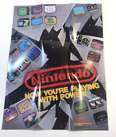 1989 Now Your Playing With Power Promo Folded Poster Nintendo NES