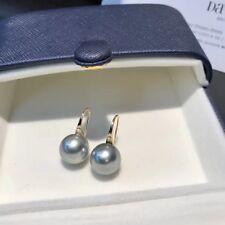 10 mm Tahitian Grey South Sea Shell Pearl 18KG Hook Dangle Earrings