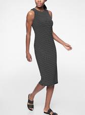 ATHLETA Stripe Twist Back Dress XL 16 | Black SOFT! Sleeveless Dress NEW