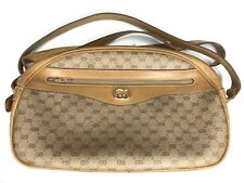 5553d2f307239f Vtg Gucci Crossbody Bag Micro GG Monogram Shoulder Purse Canvas Leather Tan