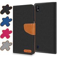 Handy Hülle Samsung Galaxy A10 Tasche Wallet Flip Case Schutz Hülle Stoff Cover