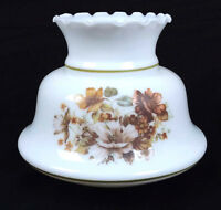 Milk Glass Hurricane Glass Lamp Shade Ruffle Floral 2 inch fitter  A