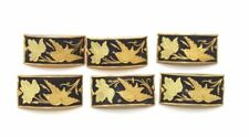Rare SET OF SEVEN Beautiful DAMASCENE Gold Buttons w. BIRD & NATURE Motif