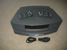 Black Bose Wave Music System CD AM/FM Radio Alarm With CD Changer and  2 Remotes