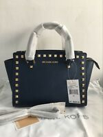 Michael Kors Selma Medium Saffiano Leather Studded Satchel Handbag Navy Blue