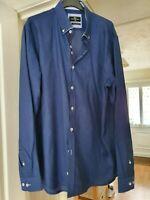 Men's Dario Beltran Blue Smart Shirt, Long Sleeves, Collar Size 16.5'', VGC