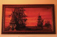 "Mid Century Drip Paint Artwork Pirate Ships Keith Lee Vanguard 30"" x 54"" 1960s"