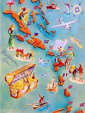 Map of Caribbean Island Islands Bahamas Cuba Sea Travel Poster Advertisement
